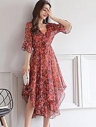 Women's Daily Chiffon Dress,Floral V Neck Asymmetrical ½ Length Sleeve Polyester Summer High Rise Inelastic Thin