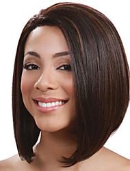 Medium Long Straight Dark Brown Color Bobo Hair Wig High Temperature Fiber Synthetic Hair Ombre Wig for Women