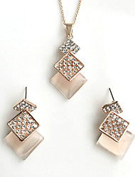 Women's Jewelry Set Imitation Opal Basic Costume Jewelry Alloy Square 1 Necklace 1 Pair of Earrings For Wedding Party Special Occasion