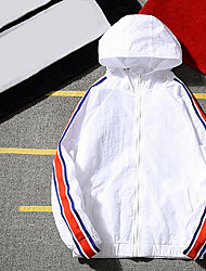 Men's Other Casual Jackets Other Summer Jacket,Lines / Waves Hooded Long Sleeve Short Polyester
