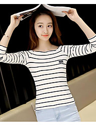 Women's Casual/Daily Simple Fall T-shirt,Striped Round Neck Long Sleeve Cotton Medium