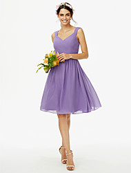 A-Line Straps Knee Length Chiffon Bridesmaid Dress with Bow(s) Sash / Ribbon Criss Cross Pleats by LAN TING BRIDE®