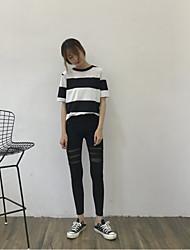 Feminino Sólido Sheer extra Algodão Cor Única Legging