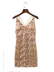 Для женщин На выход На каждый день Простое Уличный стиль Свободный силуэт Прямое Кружева Платье Однотонный С принтом Кружева Печать,На