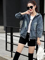 Feminino Jaqueta jeans Casual Simples Verão,Sólido Padrão Com Capuz Manga Longa