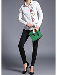 Damen Druck Einfach Lässig/Alltäglich T-shirt,Stehkragen Langarm Baumwolle