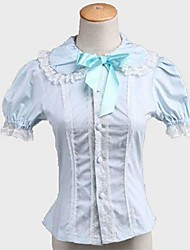 Blouse/Shirt Classic/Traditional Lolita Rococo Cosplay Lolita Dress Solid Color Short Sleeves Shirt For Padded Fabric