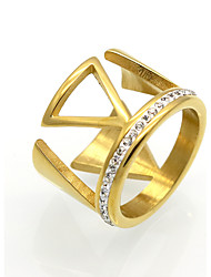 2017 New Fashion Triangle Zircon Personality Brand Design Titanium Steel Rings For Women