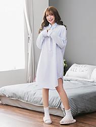 Vestido noturno feminino Colar de pérolas Long Sleeve comfort Striped pijama xadrez