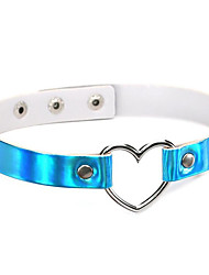 New 4 Colors Harajuku Fashion Punk Gothic PU Leather Love Choker Necklace Heart Collar Necklace For Women Reflective Laser Necklace