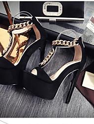Damen High Heels Komfort Pumps PU Sommer Normal Komfort Pumps Schwarz Grau Mandelfarben 12 cm & mehr