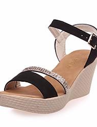 Women's Heels Basic Pump Suede Summer Casual Basic Pump Wedge Heel Almond Ruby Black 2in-2 3/4in