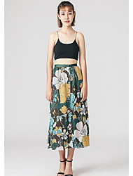 Damen Lässig/Alltäglich Midi Röcke Lässig Blumen Sommer