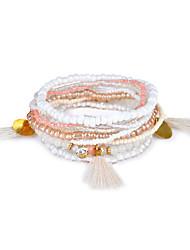 Lureme Bohemian Beads Crystal Tassels Multi Strand Textured Stackable Bracelet Set