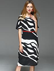 Feminino Bainha Vestido,Escritório/Carreira Diário Para Noite Simples Sofisticado Estampa Colorida Preto e Branco Decote Redondo Médio