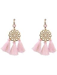 Fashion Women Filigree Metal Fabric Tassel Drop Earrings
