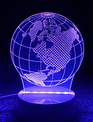 3D Acrylic LED Lamp Discoloration Globe Night Lights for Kids Room Decorative Lamps Remote Control USB Lights Funny World Map Lamps for Family