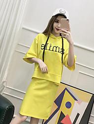 Для женщин На каждый день Лето Толстовка Юбки Костюмыпросто Однотонный 1/2 Length Sleeve Слабоэластичная