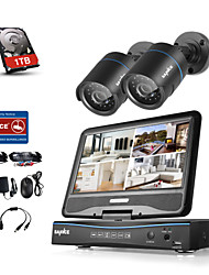 SANNCE® 4CH 2 Cameras 720P LCD DVR Weatherproof Security System Supported Analog AHD TVI IP Camera With 1TB HDD