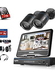Sannce® 4ch 2 kameras 720p lcd dvr wetterfestes Sicherheitssystem unterstützt analoge ahd tvi IP Kamera mit 1tb hdd