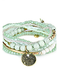 Lureme Bohemian Beads Coin Love Charms Multi Strand Textured Stackable Bracelet Set