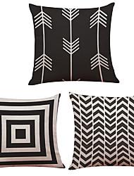 3 PC Lino Natural/Orgánico Cobertor de Cojín Funda de almohada,Con TexturasCapas Moderno/Contemporáneo Oficina/ Negocios
