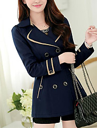 Women's Daily Modern/Comtemporary Spring Coat,Solid Shirt Collar Long Sleeve Long Others