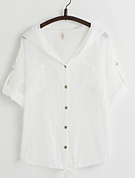 Women's Casual/Daily Simple Cute Spring Summer Shirt,Solid Patchwork Hooded ¾ Sleeve Cotton Thin