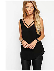 Damen Solide Einfach T-shirt,V-Ausschnitt Ärmellos Baumwolle