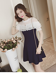 Women's Plus Size A Line Dress,Solid Round Neck Knee-length Short Sleeve Cotton Summer Low Rise Micro-elastic Medium