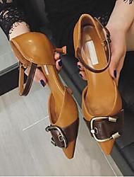 Damen High Heels PU Stöckelabsatz Beige Braun 5 - 7 cm