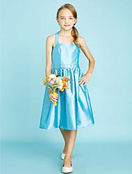 LAN TING BRIDE Knee Length Taffeta Junior Bridesmaid Dress A-line Halter Natural with Sash / Ribbon Crystal Brooch - Sky Blue Lime Green