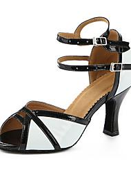 Maßfertigung Damen Latin Kunstleder Sandalen Sneakers Professionell Verschlussschnalle Blockabsatz Schwarz/Weiß 5 - 6,8 cm