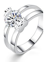 Damen Ring Strass Kreis bezaubernd Klassisch Elegant Platin Zirkon Runde Form Schmuck Für Party Alltag