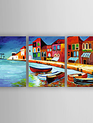 Hand-Painted 3pcs of Set  Decoration Houses Canvas Oil Painting For Home Decoration Ready to Hang