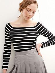 Damen Gestreift Einfach Normal T-shirt,Quadratischer Ausschnitt Langarm Baumwolle Viskose