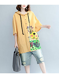 Women's Casual/Daily Simple Shirt,Solid Print Hooded ¾ Sleeve Cotton Linen