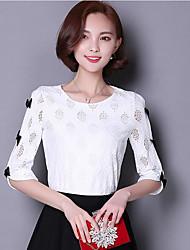 Damen Solide Einfach Lässig/Alltäglich T-shirt,Rundhalsausschnitt ½ Länge Ärmel Andere