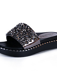 Women's Sandals Creepers Leatherette Summer Outdoor Dress Casual Walking Metallic toe Creepers Black Gray 1in-1 3/4in