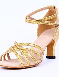 Maßfertigung Damen Latin Sandalen Absätze Innen Verschlussschnalle Niedriger Heel Gold Silber 5 - 6,8 cm