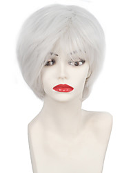 Short Straight Bob Cut Ladies Wig Soft Natural White bangs Layered Synthetic Wigs for Women with Thinning Hair White Cosplay Halloween Wig