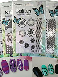 1pcs New Fashion Creative Design Beautiful Mixed Black&White Nail Art DIY 3D Sticker Decoration Colorful Pattern Manicure Beauty Tip BP225-230