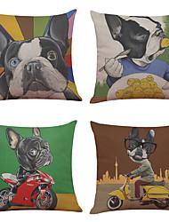 Set of 4 Fashion Cartoon Dog Pattern  Linen Pillowcase Sofa Home Decor Cushion Cover(18*18)