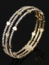 Femme Bracelets Rigides Bracelets de tennis Cristal Zircon cubique Mode Vintage Bijoux de Luxe Zircon Plaqué or Forme de Cercle Bijoux