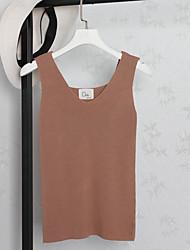 Damen Solide Einfach Normal Tank Tops,V-Ausschnitt Ärmellos Baumwollmischung
