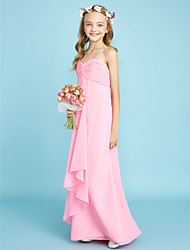 LAN TING BRIDE Floor-length Chiffon Junior Bridesmaid Dress Sheath / Column Spaghetti Straps Natural with Ruching
