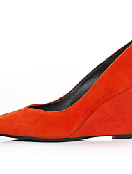 Damen High Heels Wildleder Leder Frühling Schwarz Orange Flach