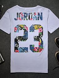 Herren Buchstabe Einfach T-shirt,Rundhalsausschnitt Sommer Kurzarm Polyester Undurchsichtig Mittel
