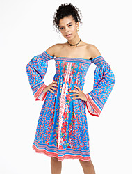 Women's Boho Off The Shoulder Flare Sleeve Casual/Daily Sexy / Vintage Backless Flare Sleeve Sheath DressFloral Boat Neck Above Knee Long Sleeve