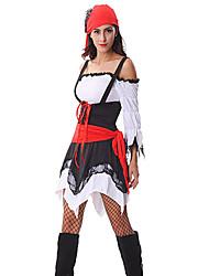 Pirate Costumes de Cosplay Costume de Soirée Fête / Célébration Déguisement d'Halloween Mosaïque Robe Casque Ceinture Halloween Féminin